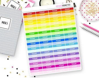 100 Rainbow Today Header Stickers for Erin Condren Life Planner, Plum Paper or Mambi Happy Planners || R5102