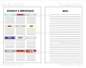 Birthday's and Anniversaries - Classic and Mini Happy Planner