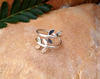 On Sale Sterling Silver Leaf Ring - Floral Ring - Silver Branch Ring - All Handmade US5 to US14