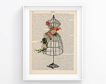 Wall Print Vintage Illustration Decorative Art / Dress form, Sewing vintage flowers Upcycled Page decor, Retro Print, Poster Book print 119