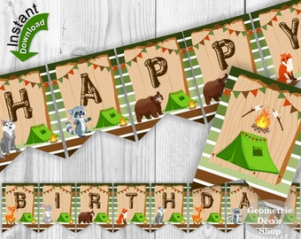 Happy Birthday Banner / INSTANT DOWNLOAD / Camp / Camping / Rustic Boy Girl woodland animals wolf bunny bear fox raccoon deer BNCamp1
