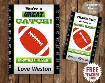 Football / Sports / Valentine Card / Valentines Card / Valentine's Day / Personalized / Tags / teacher / Kids / Classroom / VCard35