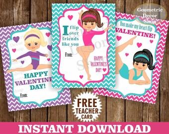 Instant Download / Gymnastic / Valentine Card / Valentines Card / Pink / Purple / Teal / Valentine's Day / Tags / teacher / Kids / VCard25