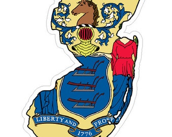 New Jersey State (Q31) Shape Flag Vinyl Decal Sticker Car/Truck Laptop/Netbook Window