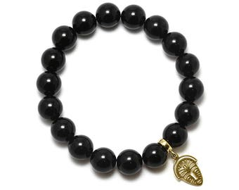 Black Onyx Beaded Bracelet with Sterling Silver Charm, Unique only 1 piece available! , color black, #45883