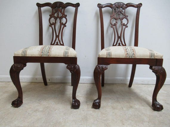 2 Ethan Allen 18th Century Mahogany Dining Side Chairs Ball Claw Chippendale C