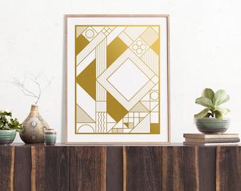 Gridlock Gold Screen Printed Art Print | 16x20 | Metallic, Silkscreen, Abstract, Scandinavian, Minimalist, Minimal, Geometric, Grid