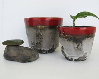 Pair of Red Planters, Lava Glaze German Pottery, Drip Glaze, Modern Rustic Decor