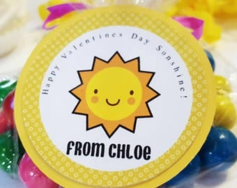 12 Sunshine Valentine's Favor Tags, Sunshine Favor Stickers