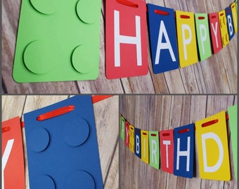 Building Block Happy Birthday Banner, Building Block Name Banner