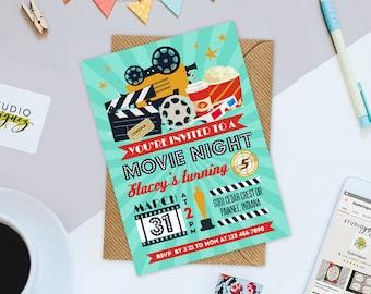 """Movie Night Birthday Printable 5"""" x 7"""" Invitation, Movie Night Printable Birthday Invitation, Cinema Printable Birthday Invitation"""