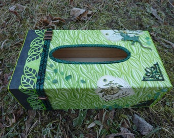 Nature theme with shades of Green Lizard tissue box