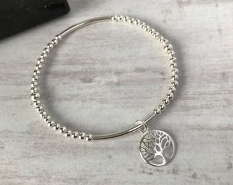 Sterling Silver Tree of Life Bracelet/Tree of Life Charm Bracelet/Stretch Bracelet/Silver Bead/Tree of Life/Family/Everyday/Gift/UK/Stack