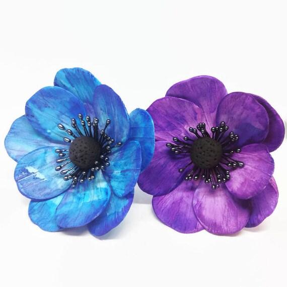 Anemone Sugar Flowers watercolor painted in blue or purple for wedding cake toppers, gumpaste decorators, DIY weddings