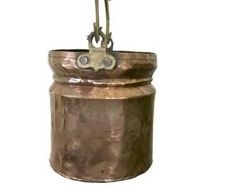 Vintage Hammered Copper Bucket