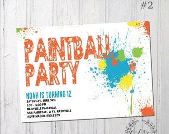 50% OFF Paintball Invitation, Paint Birthday, Paint Splatter Birthday Invitation, Boys Birthday, 4th - 5th - 6th - 7th - 8th Birthday, Desig