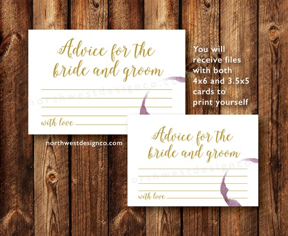 DIGITAL Advice For The Bride And Groom Card Bridal Shower
