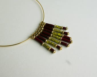 "Necklace made of paper lokta Nepalese, Plum, green, gold, ""The poet"""