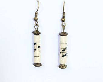 "Vintage music paper beads earrings."" Huguennots 6 """