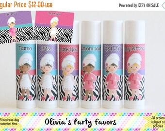 SALE 6 Spa Party Favor Balm - Girl's Spa Day - Spa Theme Lip Balm - Free Personalization - Spa Birthday Party Favors - Zebra Spa Theme