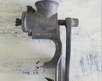 Vintage Universal 1572 Meat Grinder Made in USA White Handle Industrial Rustic Kitchen Decor