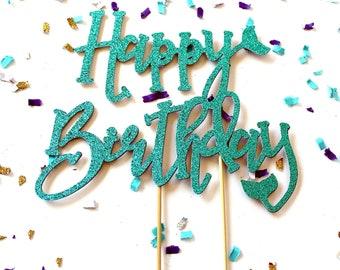 Glitter Mermaid Tail Happy Birthday Cake Topper | Mermaid Party | Under the Sea Cake Topper | Siren Party | Glitter Mermaid Tail Topper