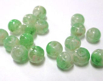 20 transparent beads speckled green and white 6mm