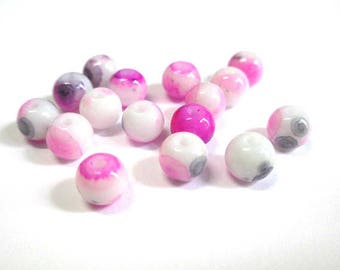 20 speckled pink and black 6mm white glass beads