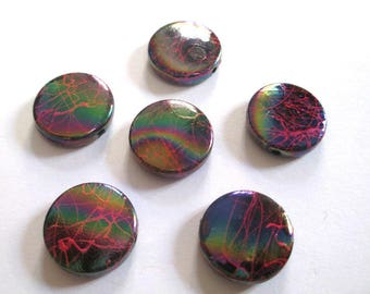 6 acrylic flat multicolored, red beads 16 x 5 mm (7)