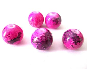 10 purple speckled pink 12mm glass beads