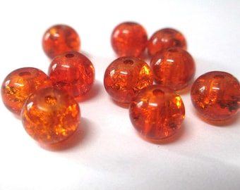 10 pearls orange Crackle Glass 8mm