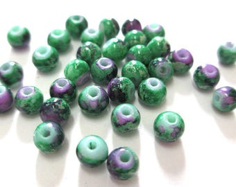 20 purple speckled green painted glass 4mm (A-20) beads