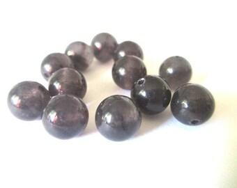 natural dark gray jade 8mm 10 beads