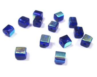 20 square glass electroplate 4mm dark blue beads