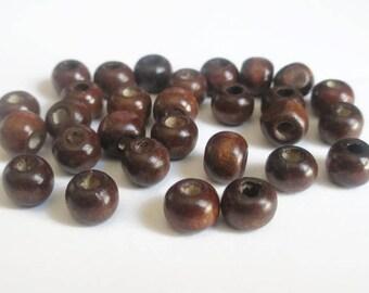 30 wooden beads Brown 8mm round