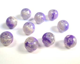 10 pearls purple and white speckled clear 8mm