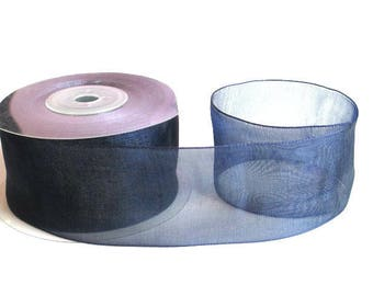 1 m 40mm dark blue organza Ribbon