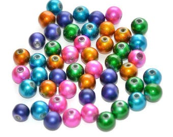 50 beads color mix of shiny glass 8mm