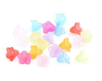 20 pearls shape acrylic flower mix color 10x14mm