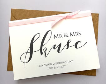 Personalised Wedding Card - Mr & Mrs - Wedding Date - Congratulations Card