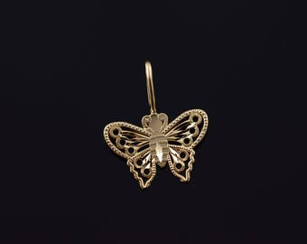14k Filigree Cut Out Butterfly Charm/Pendant Gold
