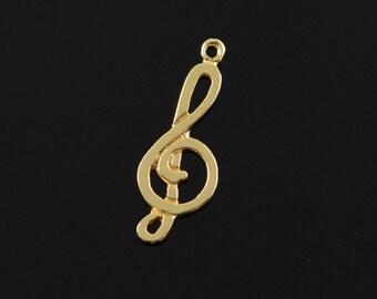 14k Treble Clef Music Note Charm/Pendant Gold