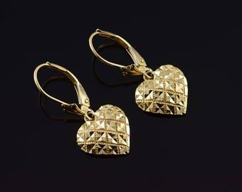 14k Cross Hatch Dangle Leverback Earrings Gold