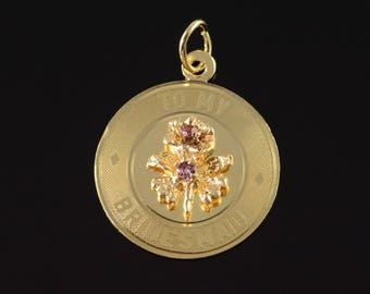 14k To My Bridesmaid Wedding Flower Circle Charm/Pendant Gold