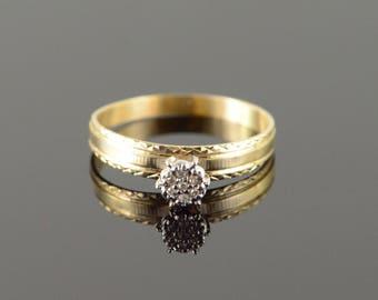 10k Vintage Genuine Cluster Diamond Engagement Ring Gold