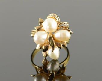 18k 6.5mm White Pearl Diamond Woven Ring Gold