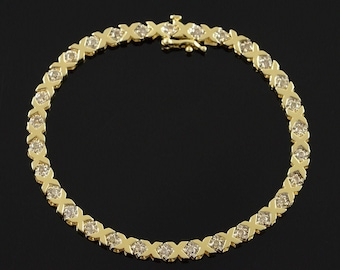 14k 1.20 CTW Diamond Hugs & Kisses Link Tennis Bracelet Gold 7.5""