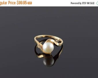 Big SALE 10k 7mm Pearl Wrap Ring Gold