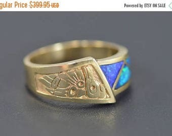 Big SALE 14k Inset Opal Native American Carving Ring Gold