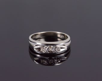 10k Retro Diamond Grooved Mens' Wedding Band Ring Gold